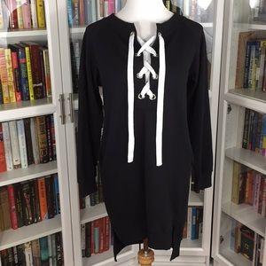 Black Lace-Up Sweater Dress